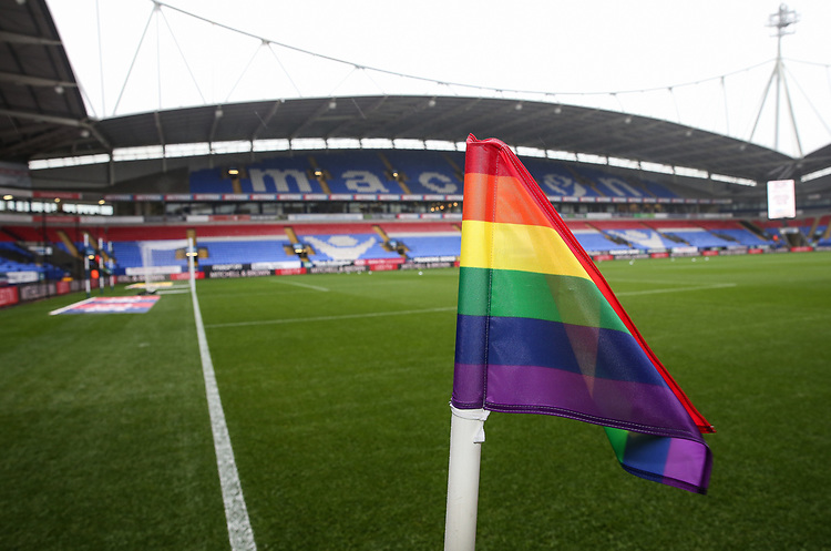 Stonewall's Rainbow campaign in support of LGBT equality<br /> <br /> Photographer Andrew Kearns/CameraSport<br /> <br /> The EFL Sky Bet Championship - Bolton Wanderers v Wigan Athletic - Saturday 1st December 2018 - University of Bolton Stadium - Bolton<br /> <br /> World Copyright © 2018 CameraSport. All rights reserved. 43 Linden Ave. Countesthorpe. Leicester. England. LE8 5PG - Tel: +44 (0) 116 277 4147 - admin@camerasport.com - www.camerasport.com