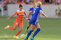 Houston, TX - Sunday Sept. 11, 2016: Carli Lloyd, Louise Schillgard during a regular season National Women's Soccer League (NWSL) match between the Houston Dash and the Boston Breakers at BBVA Compass Stadium.