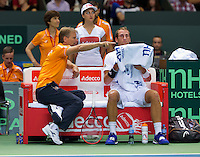 Switserland, Genève, September 20, 2015, Tennis,   Davis Cup, Switserland-Netherlands, Thiemo de Bakker on the Dutch bench with captain Jan Siemerink<br /> Photo: Tennisimages/Henk Koster