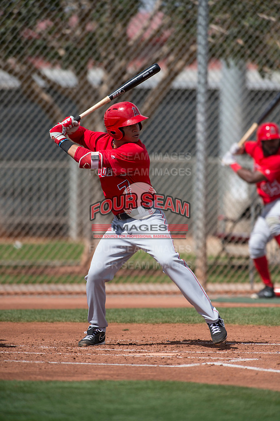 Los Angeles Angels second baseman Franklin Torres (7) during a Minor League Spring Training game against the Cincinnati Reds at the Cincinnati Reds Training Complex on March 15, 2018 in Goodyear, Arizona. (Zachary Lucy/Four Seam Images)