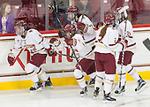 Tori Sullivan (BC - 9), Kristyn Capizzano (BC - 7), Meghan Grieves (BC - 17), Grace Bizal (BC - 2), Lexi Bender (BC - 21) - The Boston College Eagles defeated the Northeastern University Huskies 5-1 (EN) in their NCAA Quarterfinal on Saturday, March 12, 2016, at Kelley Rink in Conte Forum in Boston, Massachusetts.