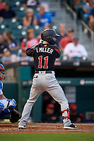 Rochester Red Wings Ian Miller (11) bats during an International League game against the Buffalo Bisons on August 26, 2019 at Sahlen Field in Buffalo, New York.  Buffalo defeated Rochester 5-4.  (Mike Janes/Four Seam Images)