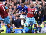 Ayegbeni Yakubu of Everton gets a shot on goal despite the attentions of Nigel Reo-Coker of Aston Villa during the Premier League match at Goodison Park  Stadium, Liverpool. Picture date 27th April 2008. Picture credit should read: Simon Bellis/Sportimage