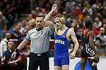 CLEVELAND, OH - MARCH 16: Seth Gross, of South Dakota State, wins his match over Tariq Wilson, of NC State, in the 133 weight class during the Division I Men's Wrestling Championship held at Quicken Loans Arena on March 16, 2018 in Cleveland, Ohio. (Photo by Jay LaPrete/NCAA Photos via Getty Images)