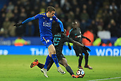 18th March 2018, King Power Stadium, Leicester, England; FA Cup football, quarter final, Leicester City versus Chelsea; Jamie Vardy of Leicester City challenges Victor Moses of Chelsea