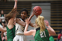 NWA Democrat-Gazette/J.T. WAMPLER Bentonville's Maryam Dauda looks for help under pressure from Van Buren's Rylee Ryan (21) Tuesday Feb. 5, 2019 at Tiger Stadium. Bentonville won 73-36 to secure a place in the Class 6A state tournament with five games remaining. Full coverage at http://nwadg.com  #ARPreps