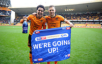 Wolverhampton Wanderers' Helder Costa and Barry Douglas celebrate at full time <br /> <br /> Photographer Ashley Crowden/CameraSport<br /> <br /> The EFL Sky Bet Championship - Wolverhampton Wanderers v Birmingham City - Sunday 15th April 2018 - Molineux - Wolverhampton<br /> <br /> World Copyright &copy; 2018 CameraSport. All rights reserved. 43 Linden Ave. Countesthorpe. Leicester. England. LE8 5PG - Tel: +44 (0) 116 277 4147 - admin@camerasport.com - www.camerasport.com