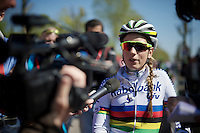 Pauline Ferrand-Prevot (FRA/Rabobank-Liv) who finished 8th, busy with post-race interviews<br /> <br /> Fl&egrave;che Wallonne F&eacute;minine 2015