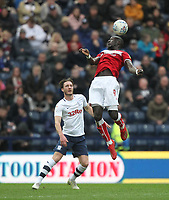 Preston North End's Ben Davies in action with Bristol City's Famara Diedhiou<br /> <br /> Photographer Mick Walker/CameraSport<br /> <br /> The EFL Sky Bet Championship - Preston North End v Bristol City - Saturday 2nd March 2019 - Deepdale Stadium - Preston<br /> <br /> World Copyright © 2019 CameraSport. All rights reserved. 43 Linden Ave. Countesthorpe. Leicester. England. LE8 5PG - Tel: +44 (0) 116 277 4147 - admin@camerasport.com - www.camerasport.com