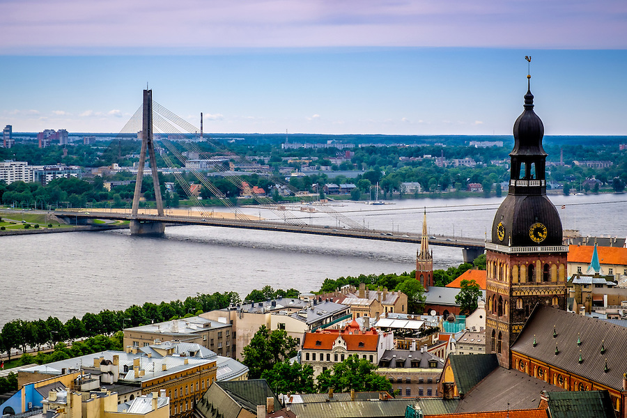 RIGA, LATVIA - CIRCA JUNE 2014: Aerial view of Old Town Riga and the Vansu Bridge over the Daugava River