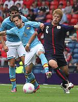 Men's Olympic Football match Spain v Japan on 26.7.12...Jordi Alba of Spain and Hiroki Sakai of Japan, during the Spain v Japan Men's Olympic Football match at Hampden Park, Glasgow...........