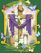 Randy, EASTER RELIGIOUS, OSTERN RELIGIÖS, PASCUA RELIGIOSA, paintings+++++Draped-Cross-framed,USRW55,#ER#