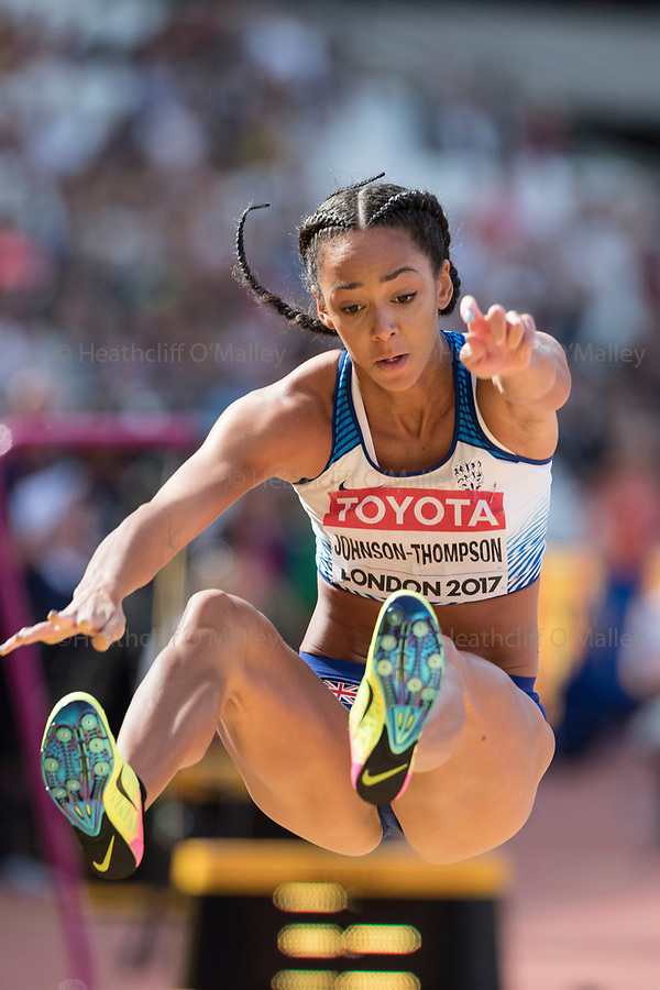 Mcc0078114 . Daily Telegraph<br /> <br /> DT Sport<br /> <br /> Katarina Johnson-Thompson competing in the Women's Heptathlon Long Jump<br /> <br /> Day 3 of the IAAF World Championships at the London Stadium in Stratford .<br /> <br /> 5 August 2017