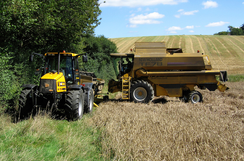 Photo: Richard Lane/Richard Lane Photography..A New Holland TF78 Elektra combine harvester attaches it's header in a field of spring barley in the Chiltern Hills near Beaconsfield, South Buckinghamshire. 29/08/2005.