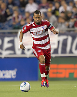 FC Dallas forward Maicon Santos (9) on the attack. In a Major League Soccer (MLS) match, the New England Revolution defeated FC Dallas, 2-0, at Gillette Stadium on September 10, 2011.
