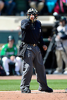 Umpire Nestor Ceja during a game between the Bowling Green Hot Rods and Dayton Dragons on April 21, 2013 at Fifth Third Field in Dayton, Ohio.  Bowling Green defeated Dayton 7-5.  (Mike Janes/Four Seam Images)