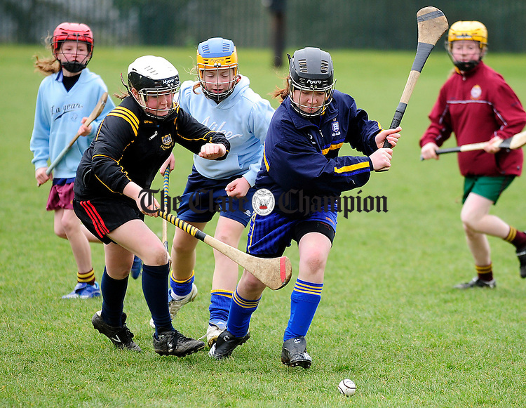 Clodagh Lawlor and Fiona Murphy during a Camogie Camp at Clarecastle GAA Club.Pic Arthur Ellis.