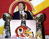 Washington Redskins general manager Charley Casserly makes remarks during a press conference announcing the team traded their 1996 first round draft choice (the sixth overall) to the St. Louis Rams for Pro Bowl defensive tackle Sean Gilbert (90) at Redskins Park in Ashburn, Virginia on April 9, 1996.<br /> Credit: Arnie Sachs / CNP