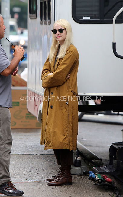 www.acepixs.com<br /> <br /> August 15 2017, New York City<br /> <br /> Actress Emma Stone was on the set of the new Netflix show 'Maniac' on August 15 2017 in New York City<br /> <br /> By Line: Philip Vaughan/ACE Pictures<br /> <br /> <br /> ACE Pictures Inc<br /> Tel: 6467670430<br /> Email: info@acepixs.com<br /> www.acepixs.com