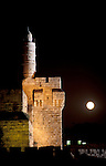 Israel, Jerusalem, moonrise over the Tower of David