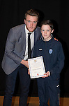 St Johnstone FC Academy Awards Night...06.04.15  Perth Concert Hall<br /> Zander Clark presents a certificate to Duncan McPhee<br /> Picture by Graeme Hart.<br /> Copyright Perthshire Picture Agency<br /> Tel: 01738 623350  Mobile: 07990 594431