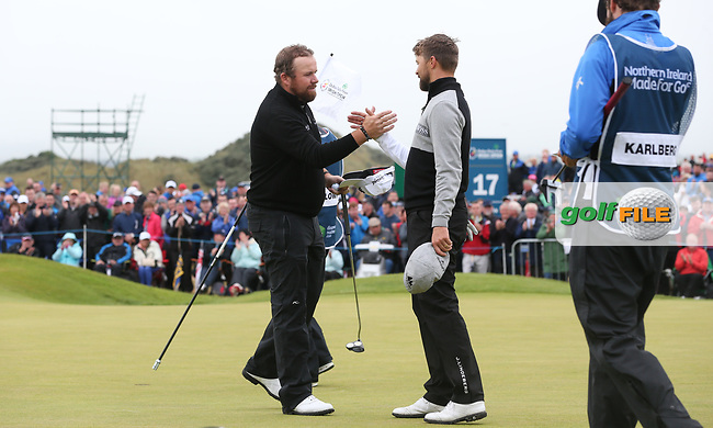 Shane Lowry (IRL) completes the Final Round of the Dubai Duty Free Irish Open 2017 Hosted by the Rory Foundation, at Portstewart Golf Club, Derry, Northern Ireland.  09/07/2017. Picture: David Lloyd | Golffile.<br /> <br /> Images must display mandatory copyright credit - (Copyright: David Lloyd | Golffile).