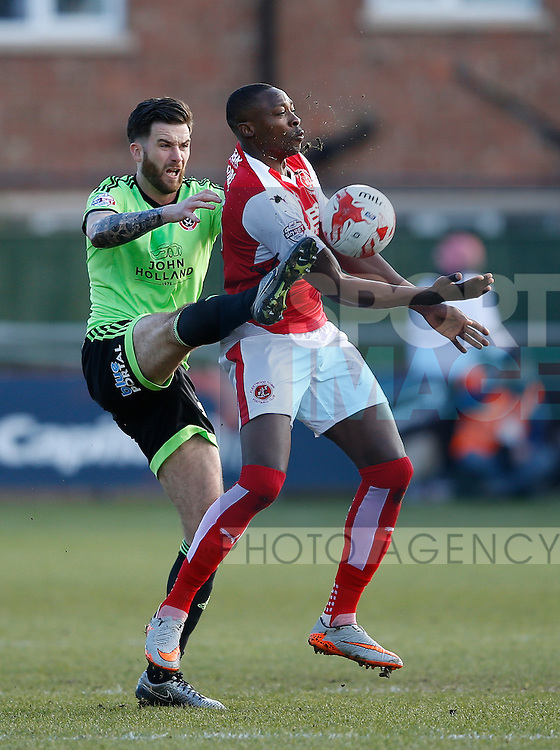 David Edgar of Sheffield Utd tussles with Shola Ameobi of Fleetwood Town  - English League One - Fleetwood Town vs Sheffield Utd - Highbury Stadium - Fleetwood - England - 5rd March 2016 - Picture Simon Bellis/Sportimage