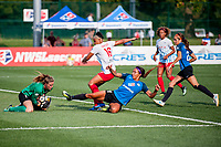 Kansas City, MO - Wednesday August 16, 2017: Alyssa Naeher, Samantha Johnson, Sydney Leroux Dwyer, Shea Groom during a regular season National Women's Soccer League (NWSL) match between FC Kansas City and the Chicago Red Stars at Children's Mercy Victory Field.