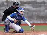 Wildcats' Brandon Lapointe works behind the plate in a game against Utah State University Eastern at Western Nevada College in Carson City, Nev., on Saturday, April 25, 2015. <br /> Photo by Cathleen Allison