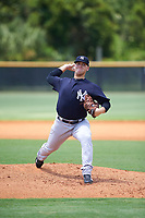 GCL Yankees East relief pitcher Shawn Semple (18) delivers a pitch during the second game of a doubleheader against the GCL Yankees West on July 19, 2017 at the Yankees Minor League Complex in Tampa, Florida.  GCL Yankees West defeated the GCL Yankees East 3-1.  (Mike Janes/Four Seam Images)