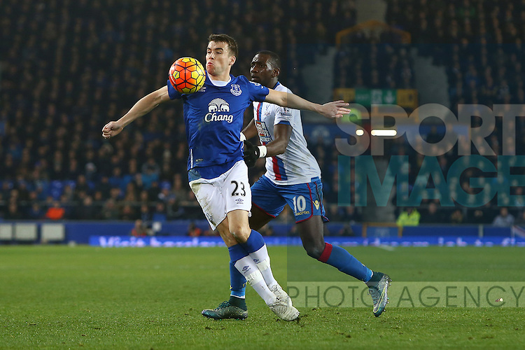 Seamus Coleman of Everton battles Yannick Bolasie of Crystal Palace - Everton vs Crystal Palace - Barclays Premier League - Goodison Park - Liverpool - 07/12/2015 Pic Philip Oldham/SportImage