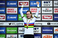 Picture by Alex Whitehead/SWpix.com - 29/09/2018 - Cycling 2018 Road Cycling World Championships Innsbruck-Tirol, Austria - Women's Elite Road Race - Anna van der Breggen of The Netherlands celebrates in the Rainbow Jersey.