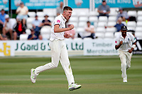 Henry Brookes of Warwickshire celebrates taking the wicket of Ryan ten Doeschate during Essex CCC vs Warwickshire CCC, Specsavers County Championship Division 1 Cricket at The Cloudfm County Ground on 15th July 2019