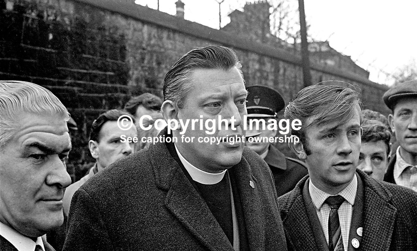 Rev Ian Paisley, the N Ireland loyalist leader, outside Armagh Court after losing his appeal against a jail sentence for organising an illegal counter-demonstration against a Northern Ireland Civil Rights Association march in Armagh. His co-accused, Major Ronald Bunting, also failed in a similar appeal. 196903250129a.<br />