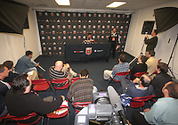 Jaime meets the press after the game during festivities surrounding the final appearance of Jaime Moreno in a D.C. United uniform, at RFK Stadium, in Washington D.C. on October 23, 2010. Toronto won 3-2.