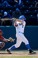 Pat Gallagher #27 of the UCLA Bruins bats against the Oklahoma Sooners at Jackie Robinson Stadium on March 9, 2013 in Los Angeles, California. (Larry Goren/Four Seam Images)