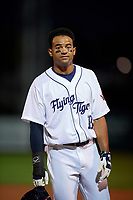 Lakeland Flying Tigers right fielder Derek Hill (18) during a game against the Tampa Tarpons on April 5, 2018 at Publix Field at Joker Marchant Stadium in Lakeland, Florida.  Tampa defeated Lakeland 4-2.  (Mike Janes/Four Seam Images)