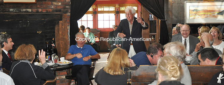 KENT, CT – 26 June 2014 - 062614LMW02 – Jim Perkins, a Kent resident, speaks to area Republicans about the status of the Schaghticoke Indian's quest for federal recognition and the impact that might be felt across the state at the Fife 'n Drum Restaurant Thursday morning during the annual Legislative Forum with elected leaders and candidates for office. Lynn Mellis Worthington Republican-American