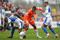 Blackpool's Nathan Delfouneso competing with Bristol Rovers' Abu Ogogo and Tareiq Holmes-Dennis<br /> <br /> Photographer Andrew Kearns/CameraSport<br /> <br /> The EFL Sky Bet League Two - Bristol Rovers v Blackpool - Saturday 2nd March 2019 - Memorial Stadium - Bristol<br /> <br /> World Copyright © 2019 CameraSport. All rights reserved. 43 Linden Ave. Countesthorpe. Leicester. England. LE8 5PG - Tel: +44 (0) 116 277 4147 - admin@camerasport.com - www.camerasport.com