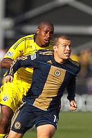 24 OCTOBER 2010: Columbus Crew defender Andy Iro (6) and Philadelphia Union forward Alejandro Moreno (15) during MLS soccer game at Crew Stadium in Columbus, Ohio on August 28, 2010.