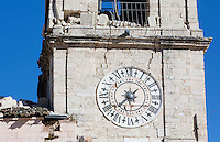 Il campanile del Palazzo Comunale danneggiato dalla scossa di terremoto di magnitudo 6.5 che ha scosso il centro Italia alle 7,41 del 30 ottobre, a Norcia, 31 ottobre 2016..<br /> A view of the damaged town hall bell tower after the magnitude 6.5 earthquake that hit Italy on 30 October, in Norcia, 31 October 2016.<br /> UPDATE IMAGES PRESS/Riccardo De Luca