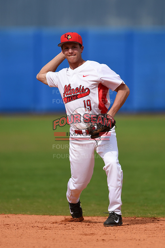 Illinois State Redbirds Jared Hendren (19) during practice before a game against the Bowling Green Falcons on March 11, 2015 at Chain of Lakes Stadium in Winter Haven, Florida.  Illinois State defeated Bowling Green 8-7.  (Mike Janes/Four Seam Images)