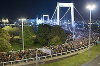 Participants march through a bridge as they protest against the planned Internet tax in Budapest, Hungary on October 28, 2014. ATTILA VOLGYI