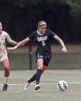 University of Central Florida midfielder Andrea Rodrigues (9) brings the ball forward. After two overtime periods, Boston College tied University of Central Florida, 2-2, at Newton Campus Field, September 9, 2012.