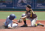 Reno's Brad Thomas slides under the tag of Galena's Timmy Lichty as he steals second in the NIAA Division I Northern Region Baseball Championship between the Galena Grizzlies and the Reno Huskies played on Saturday, May 14, 2016 at Peccole Park in Reno, Nevada.