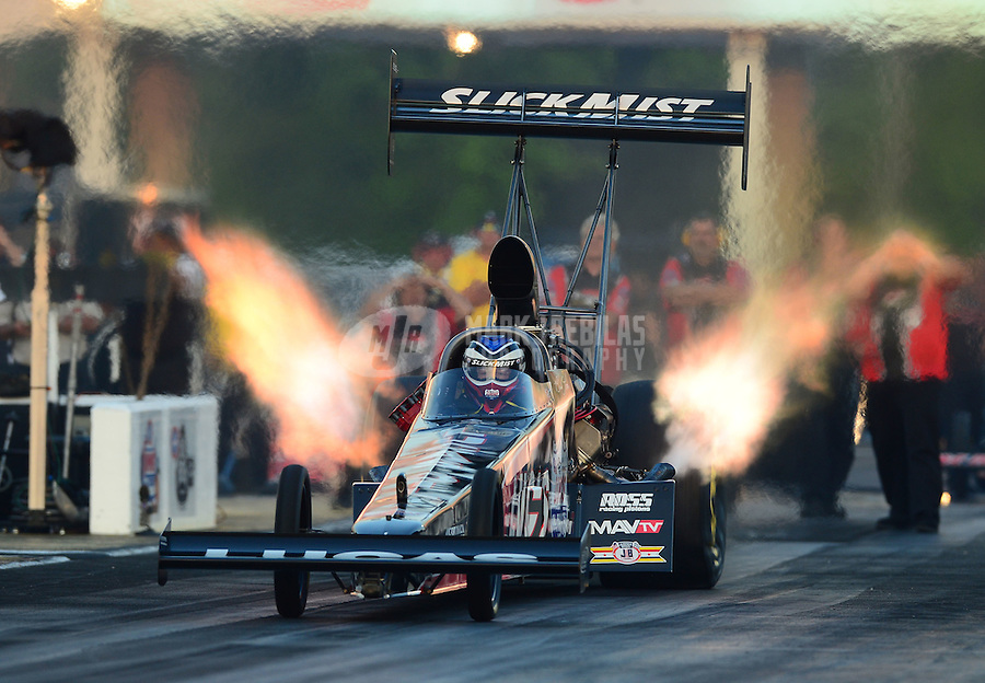 May 4, 2012; Commerce, GA, USA: NHRA top fuel dragster driver Bruce Litton during qualifying for the Southern Nationals at Atlanta Dragway. Mandatory Credit: Mark J. Rebilas-