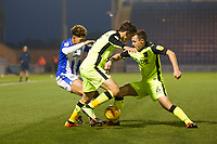 Craig Woodman of Exeter City and Jordan Tilson combine forces to stop Courtney Senior of Colchester United from getting through during Colchester United vs Exeter City, Sky Bet EFL League 2 Football at the JobServe Community Stadium on 24th November 2018