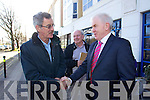 Dick Spring congratulates Jimmy Deenihan at the North Kerry, West Limerick Election 2011 count at the Brandon Hotel Tralee on Saturday.