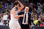 Real Madrid's Sergio Llull and coach Pablo Laso during Turkish Airlines Euroleague match between Real Madrid and Maccabi at Wizink Center in Madrid, Spain. January 13, 2017. (ALTERPHOTOS/BorjaB.Hojas)