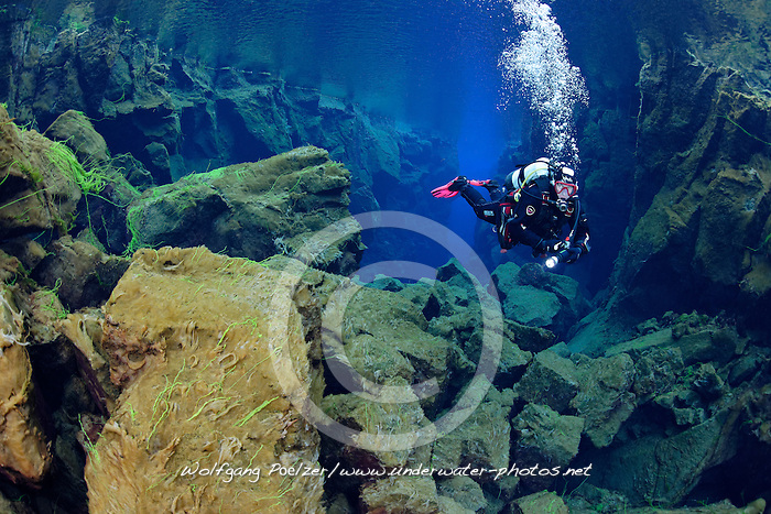 Silfra-Spalte, Tauchen in der Kontinentalspalte Silfra, tauchen zwischen den Kontinenten, thingvellir Nationalpark, Island, Silfra-Crack, Scuba diving in the continental fissure, crack Silfra, scuba diving between two continets thingvellir Nationalpark, Iceland, MR YES